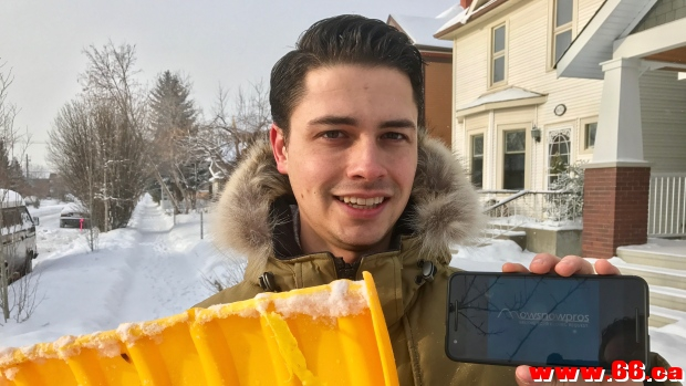 In Calgary, people can access on-demand snow clearing and grass cutting using MowSnowPros, a new app by Aidan Klingbeil, seen here.
