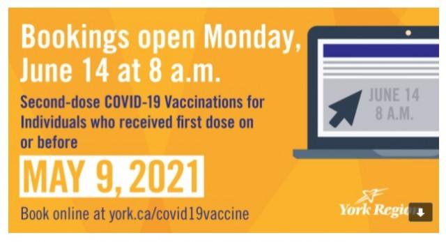 约克区呼吁符合条件居民尽快预约打第二剂疫苗