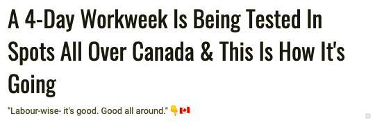 继西班牙、冰岛后,加拿大试行四天工作制!三天周末时代要来了?
